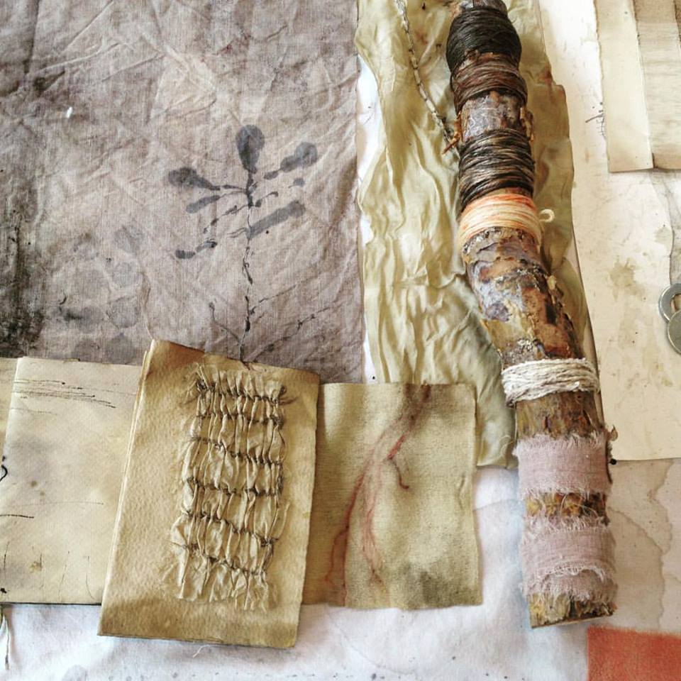 textile art, workshop with India Flint, using diluted Indian ink