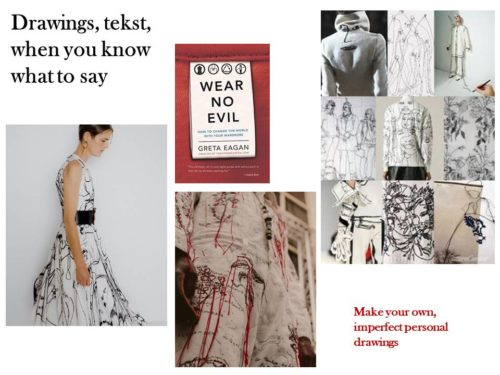 moodboard with inspiration textile art text